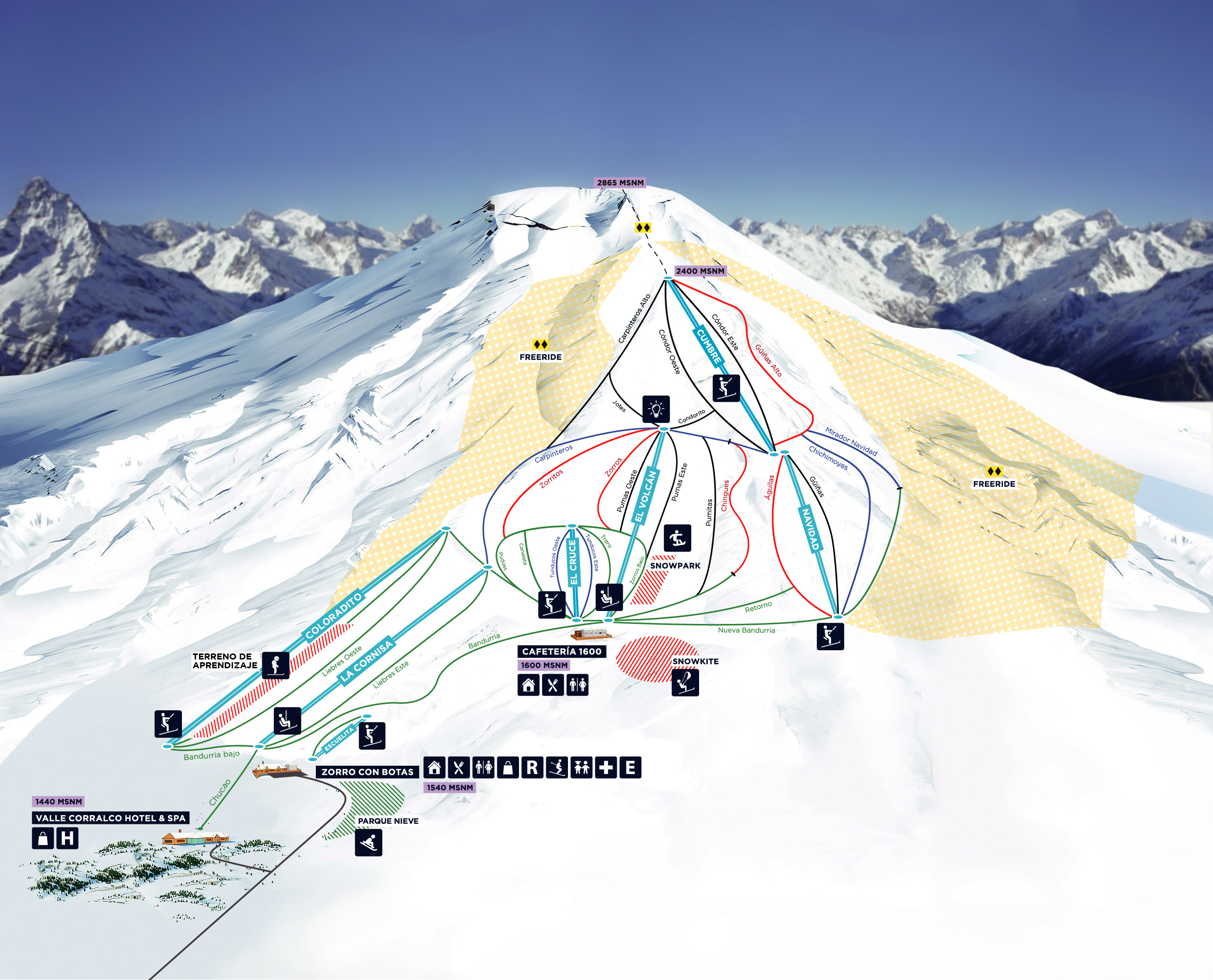 Corralco (Lonquimay) Piste / Trail Map