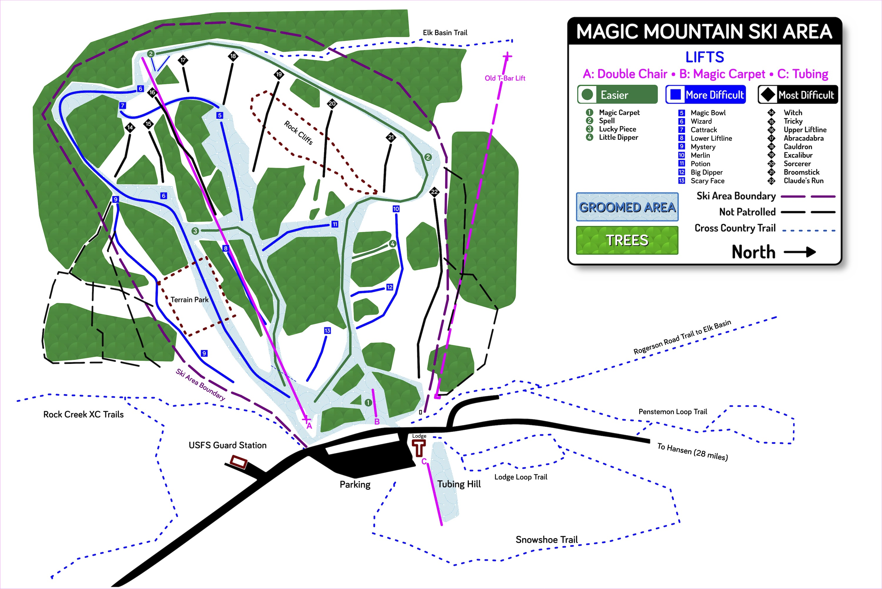 Magic Mountain (Idaho) Piste / Trail Map