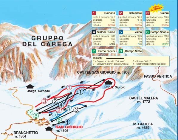 Malga San Giorgio Piste / Trail Map