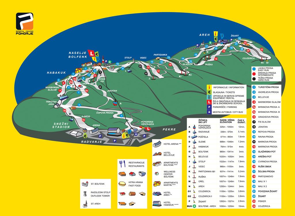 Mariborsko Pohorje Piste / Trail Map