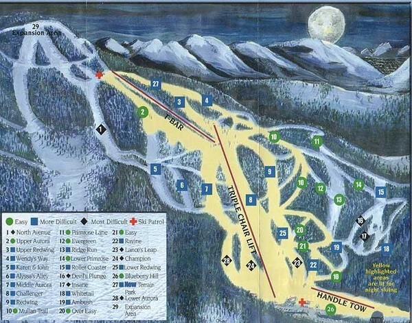Marshall Mountain Ski Area Piste / Trail Map