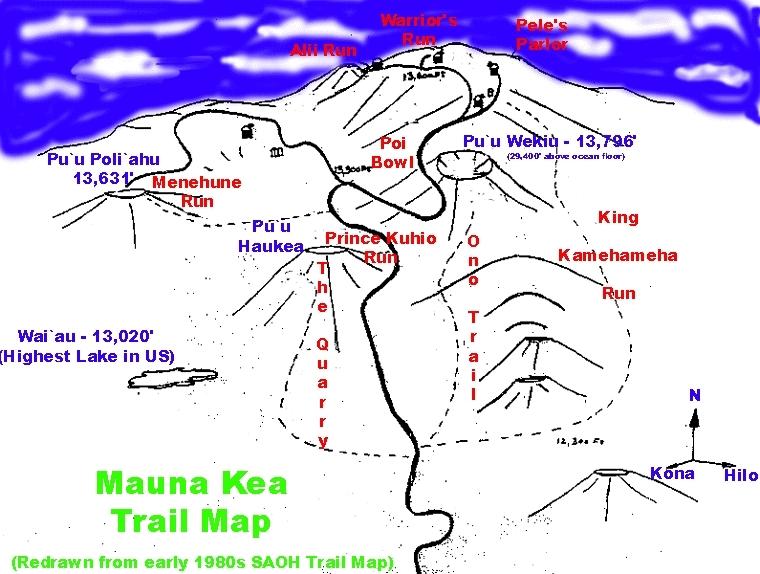 Mauna Kea Piste / Trail Map