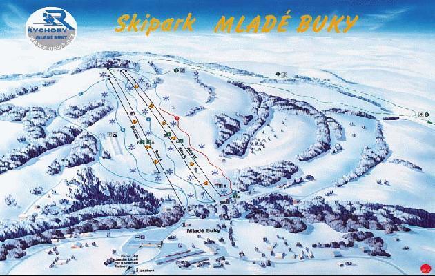 Mladé Buky Piste / Trail Map