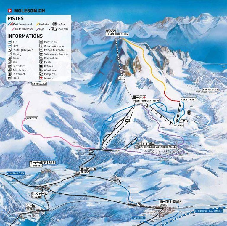 Moléson s/Gruyères Piste / Trail Map