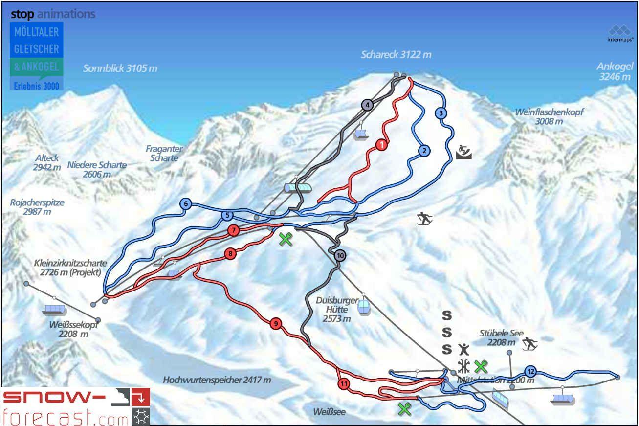 Mölltaler Gletscher Piste / Trail Map