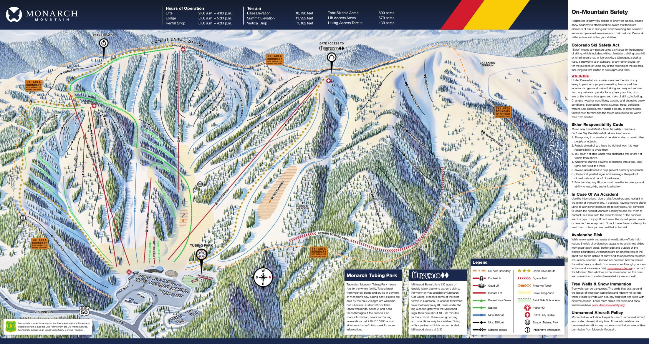 Monarch Ski Area Piste / Trail Map