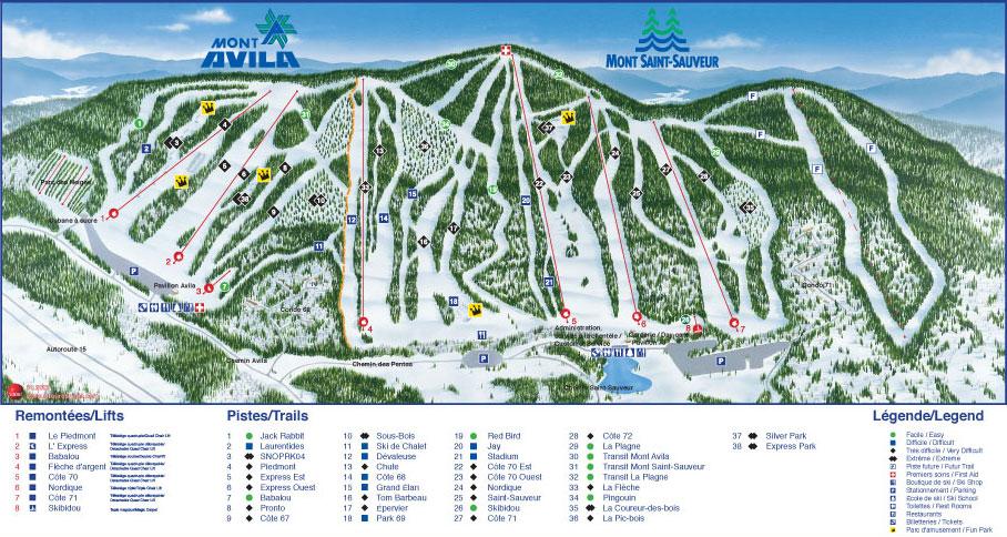 Mont Saint Sauveur Piste / Trail Map
