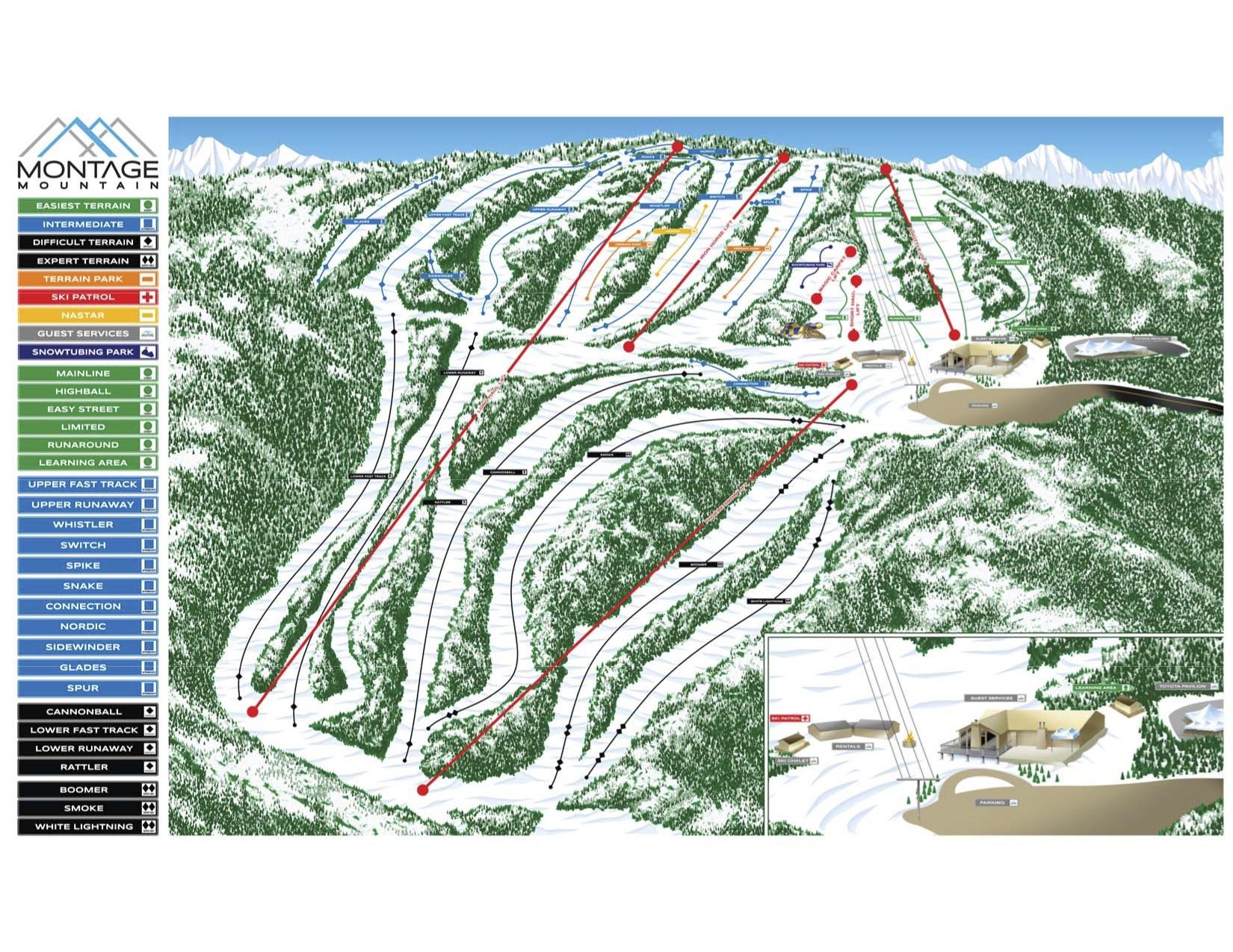 Montage Mountain Resorts Piste / Trail Map
