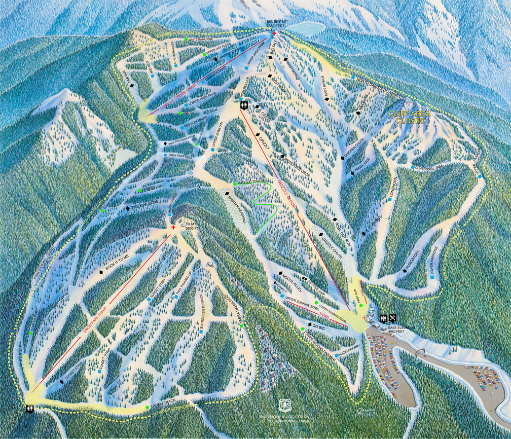 Montana Snowbowl Piste / Trail Map