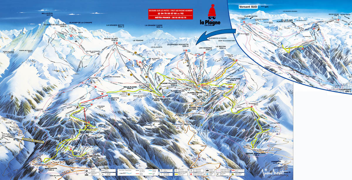 Montchavin Piste / Trail Map