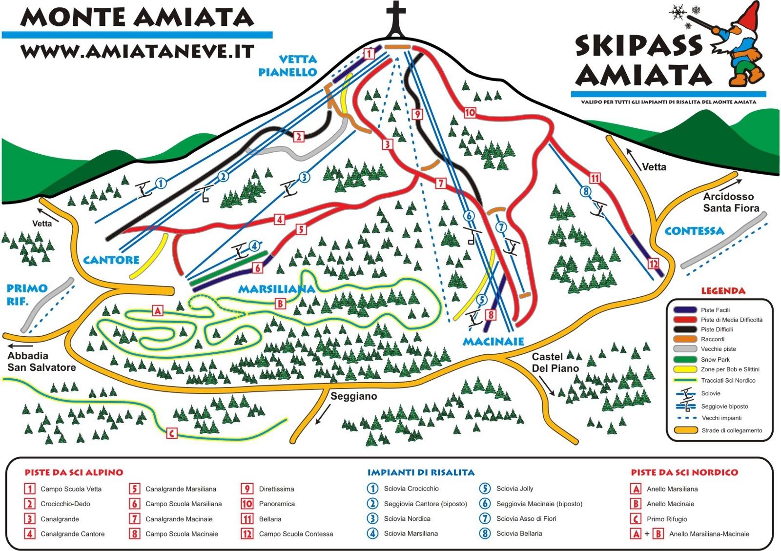 Monte Amiata Piste / Trail Map