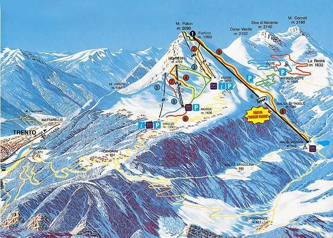 Monte Bondone Piste / Trail Map