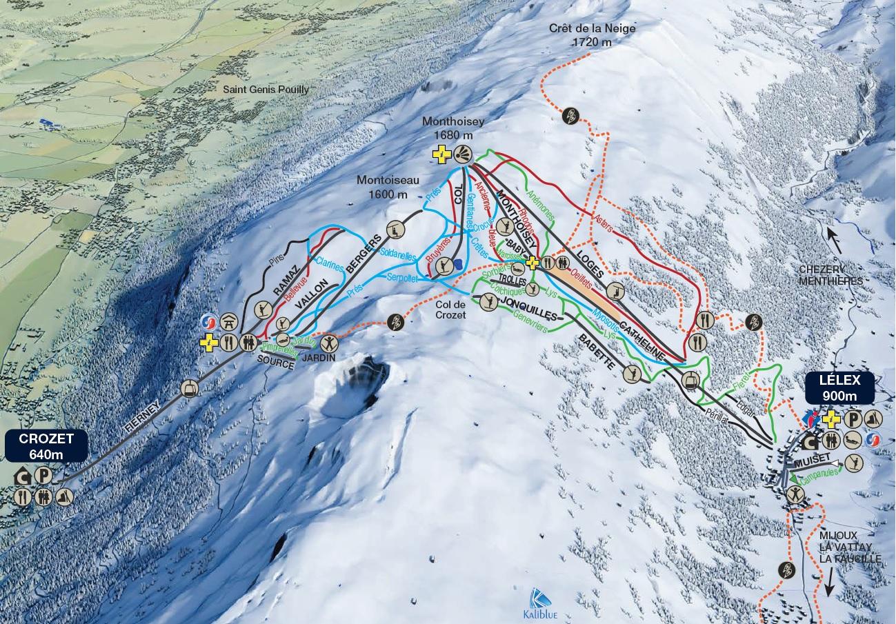 Monts-Jura (Lélex/Crozet) Piste / Trail Map