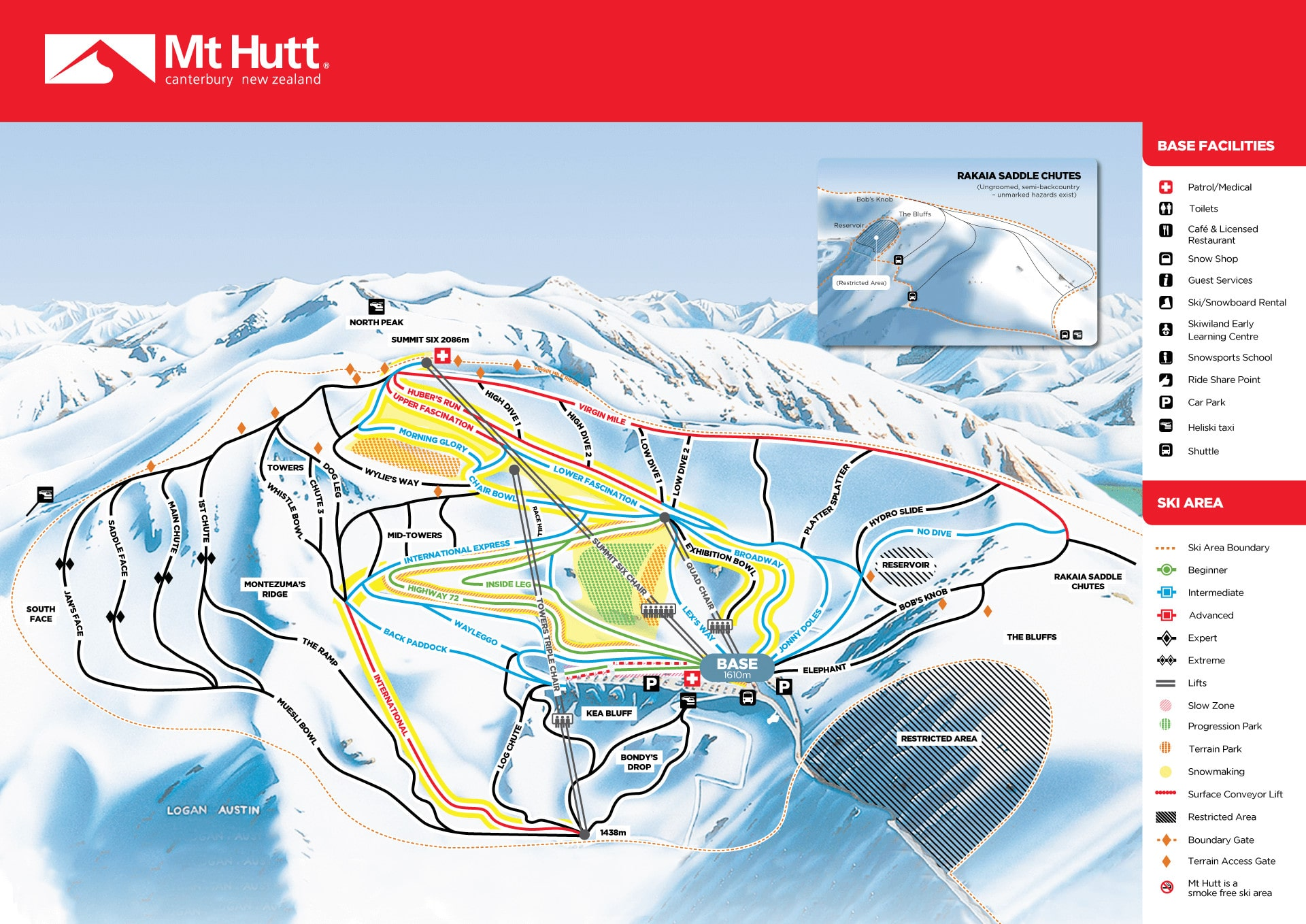 Mount Hutt Piste Map Trail Map