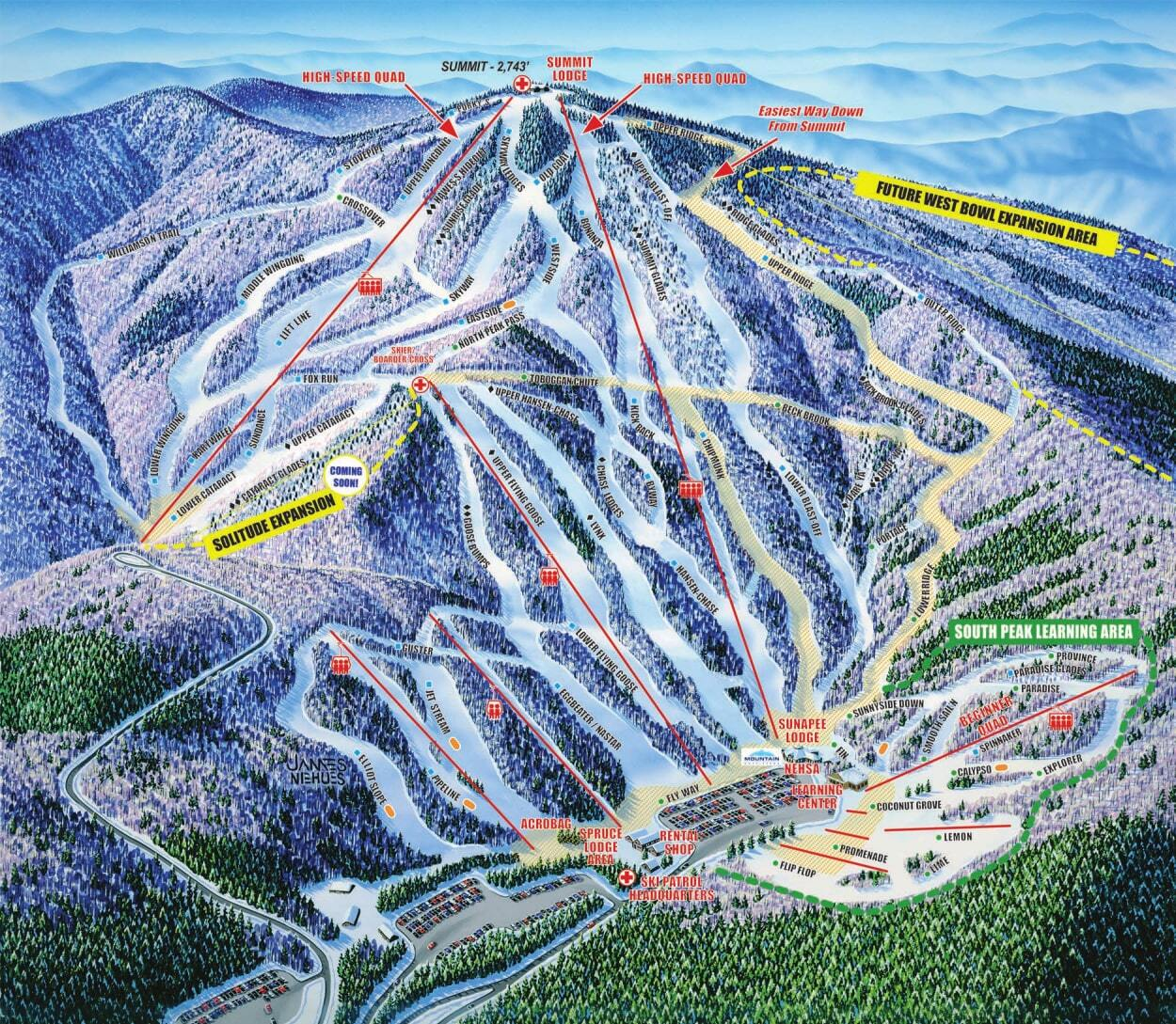Mount Sunapee Piste / Trail Map