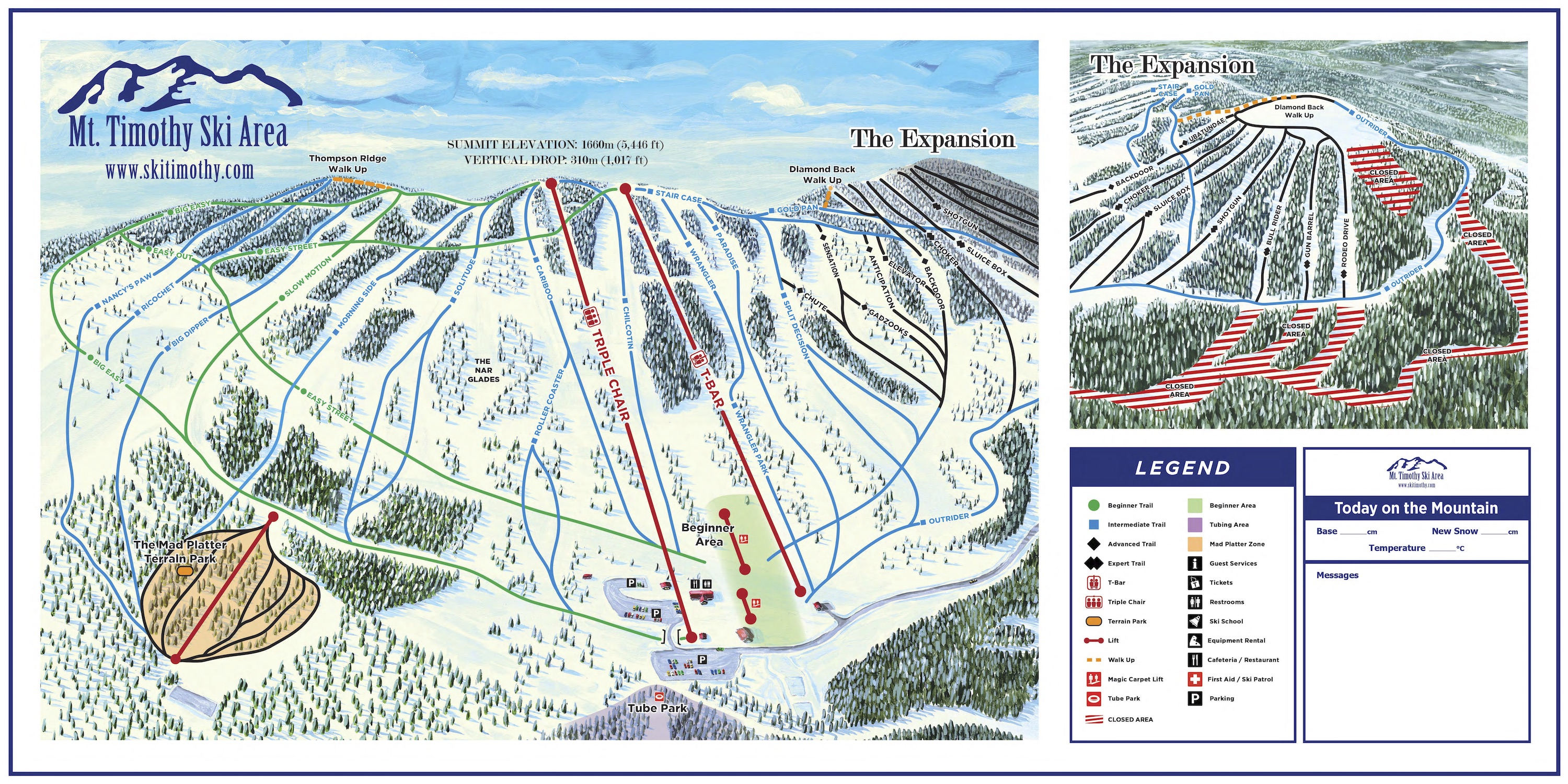 Mount Timothy Ski Area Piste / Trail Map