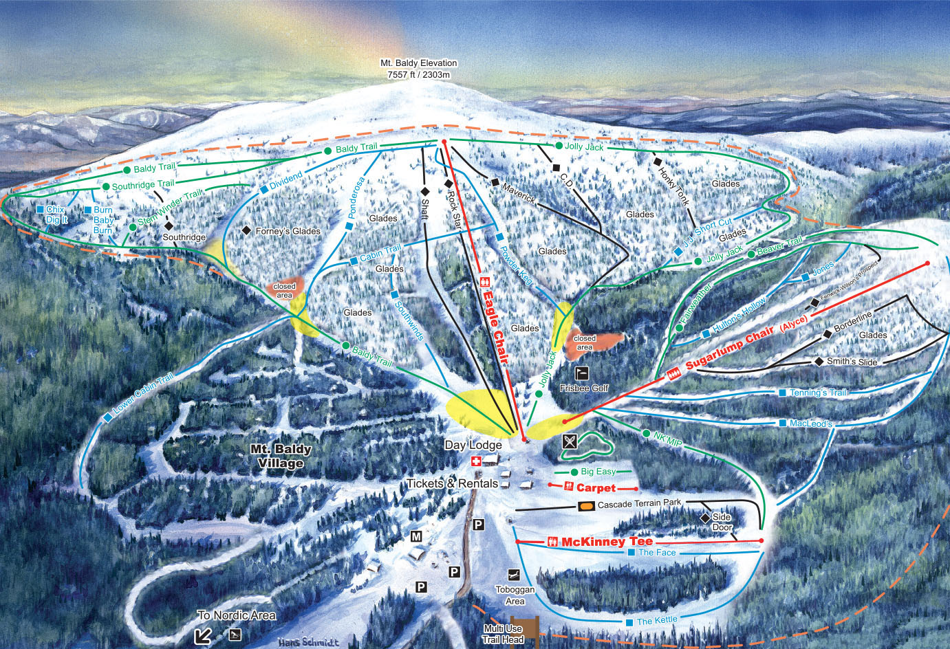 Baldy Mountain Resort Piste / Trail Map