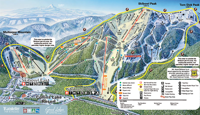 Mt Hood Ski Bowl Piste / Trail Map