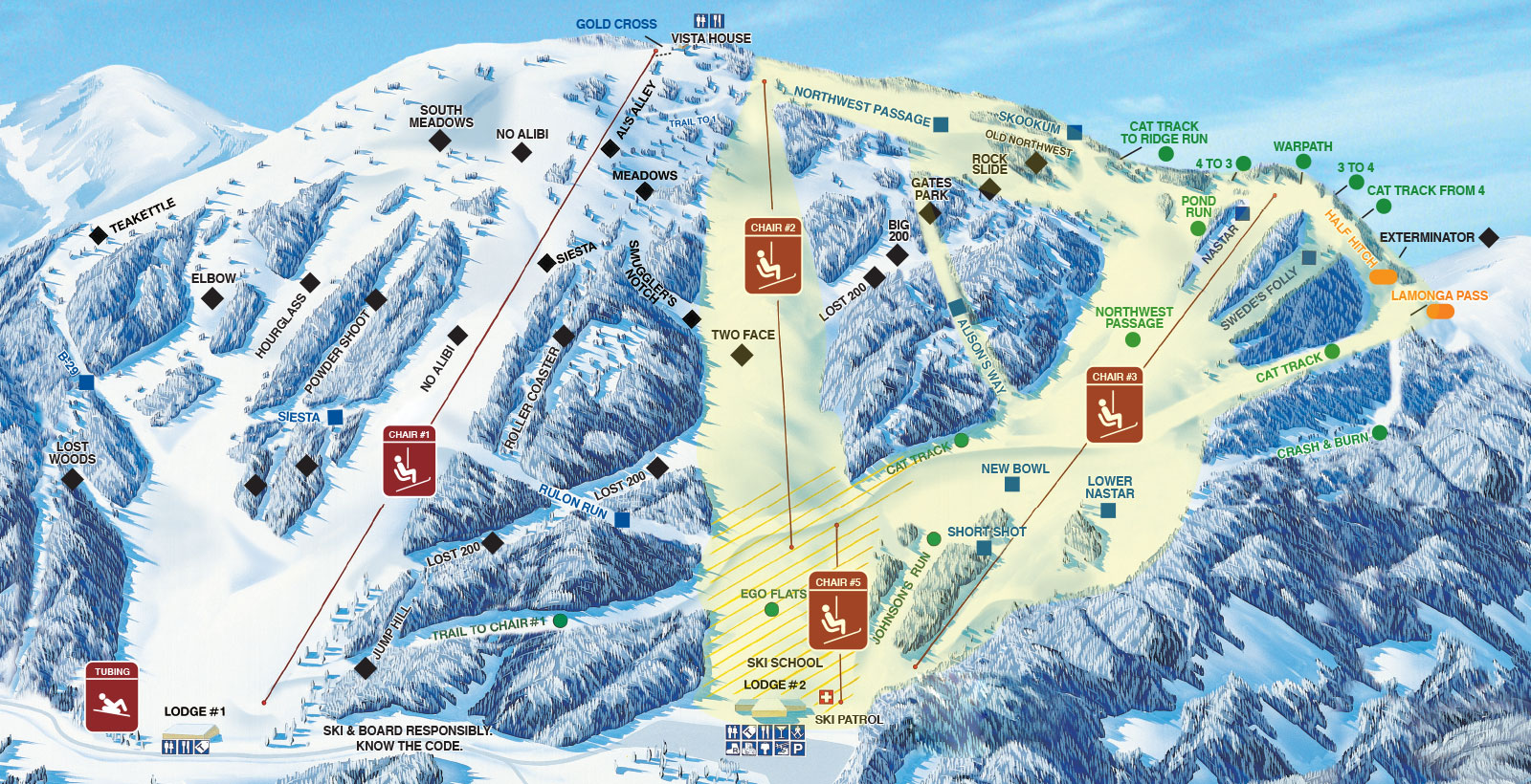 Mt Spokane Ski and Snowboard Park Piste / Trail Map