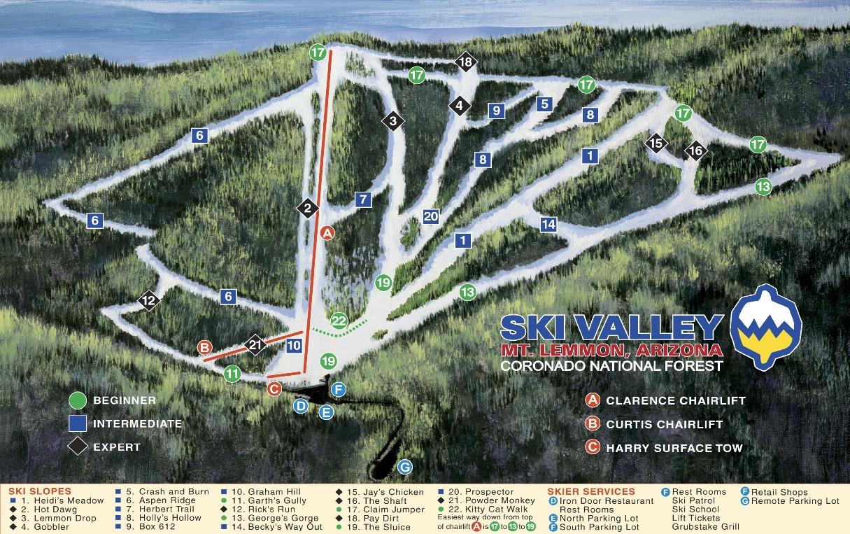 Mount Lemmon Ski Valley Piste / Trail Map
