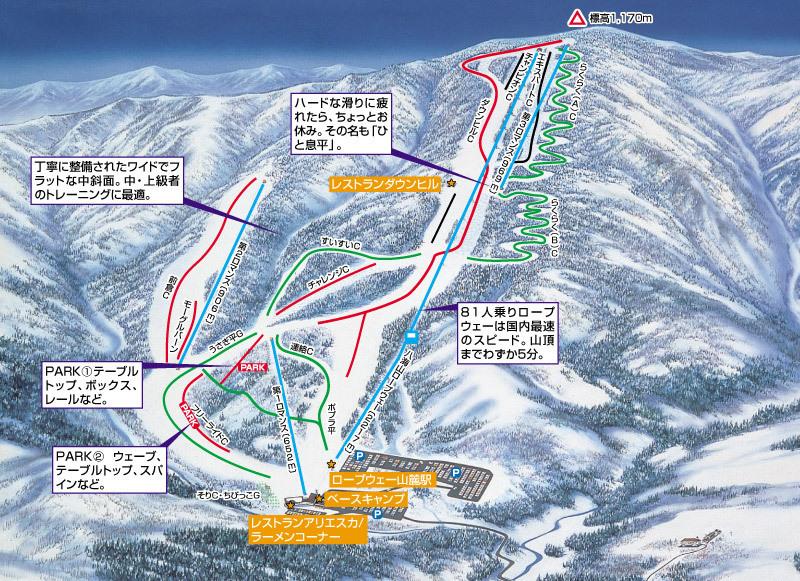 Muikamachi Hakkaisan Piste / Trail Map