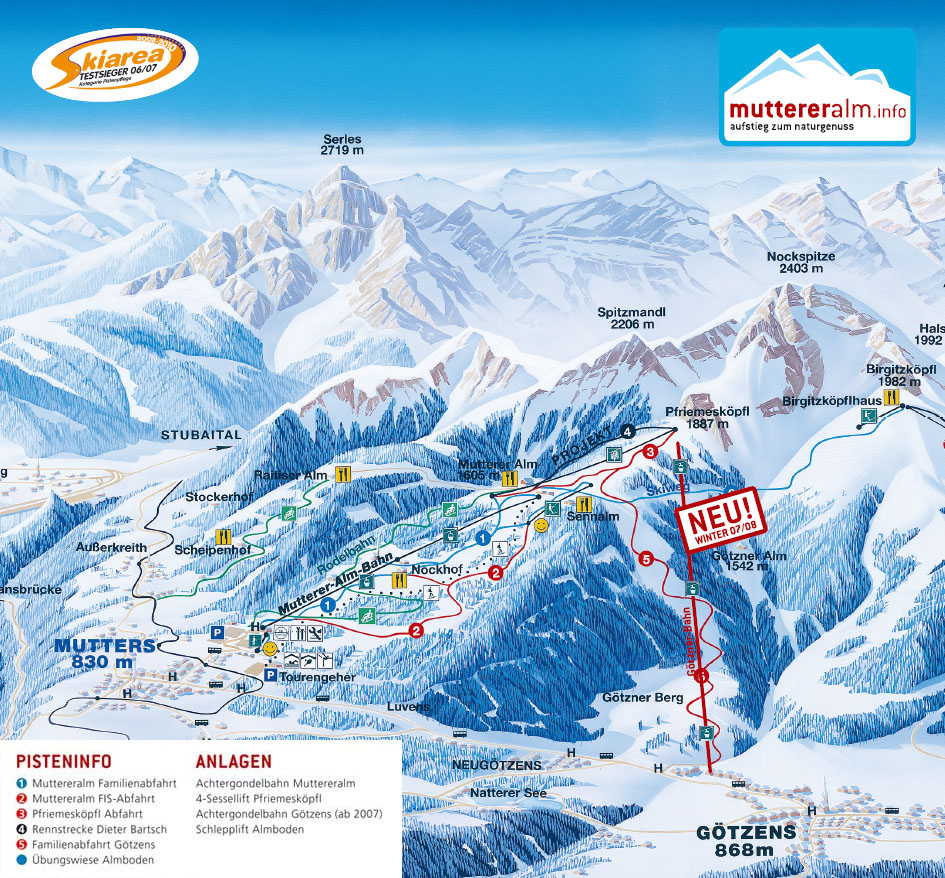 Muttereralm Piste / Trail Map