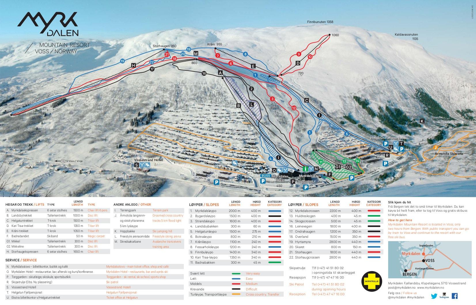 Myrkdalen Piste / Trail Map