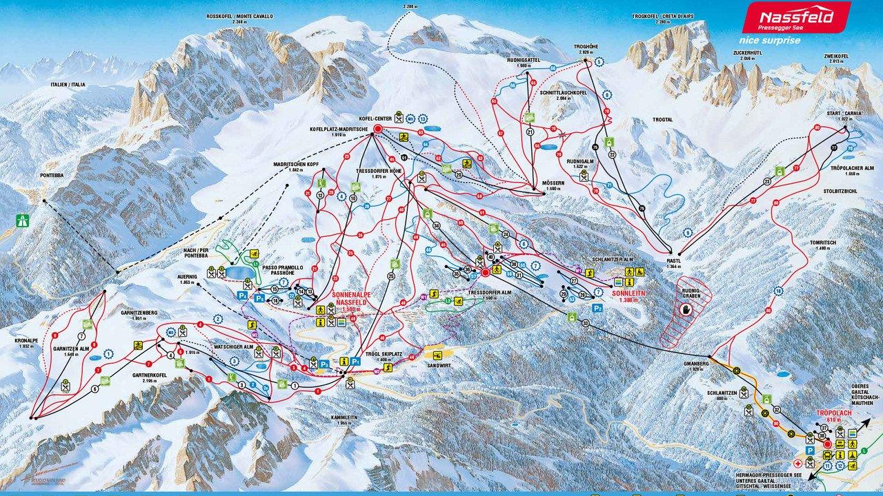 Nassfeld Piste / Trail Map
