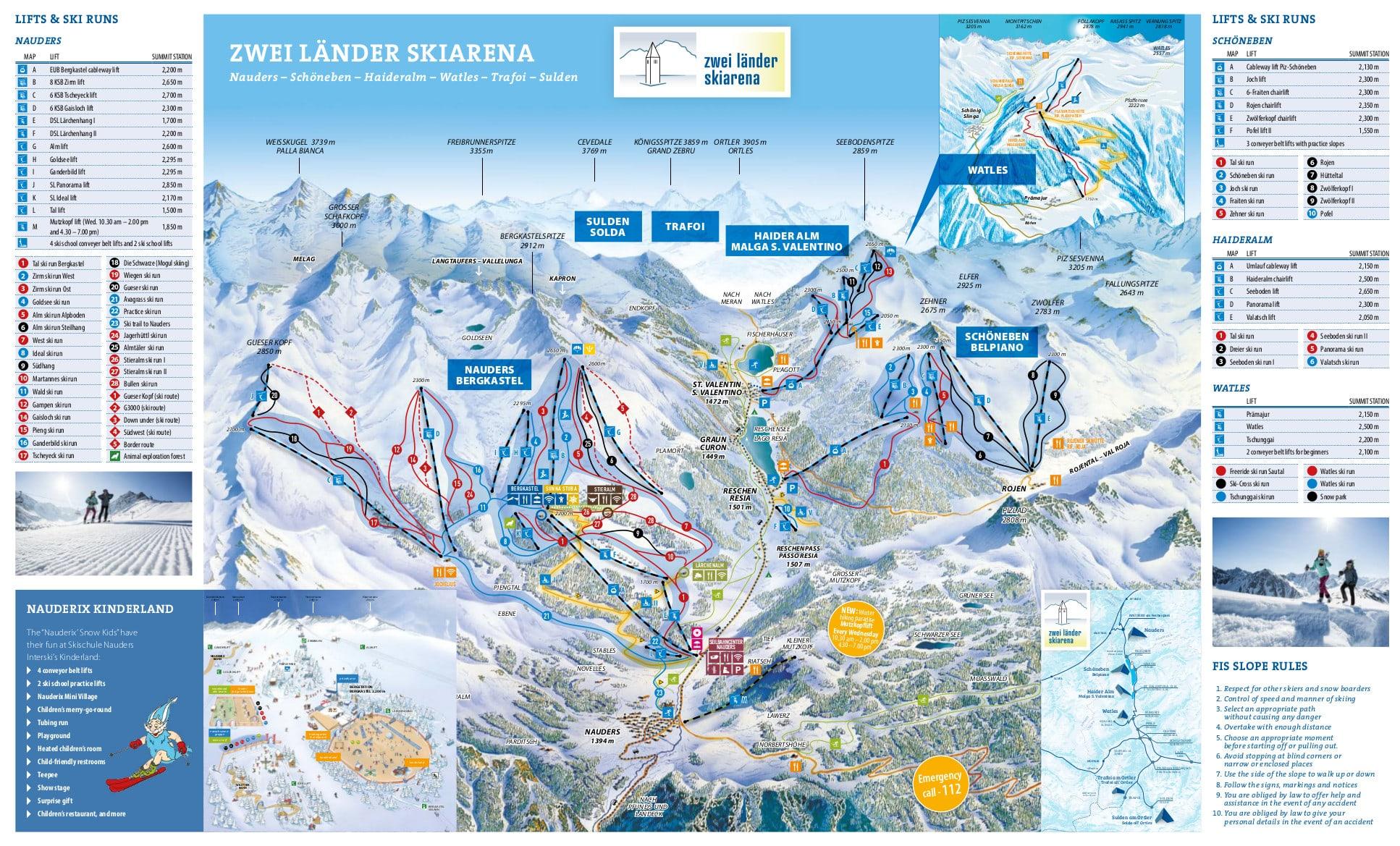 Nauders Piste / Trail Map