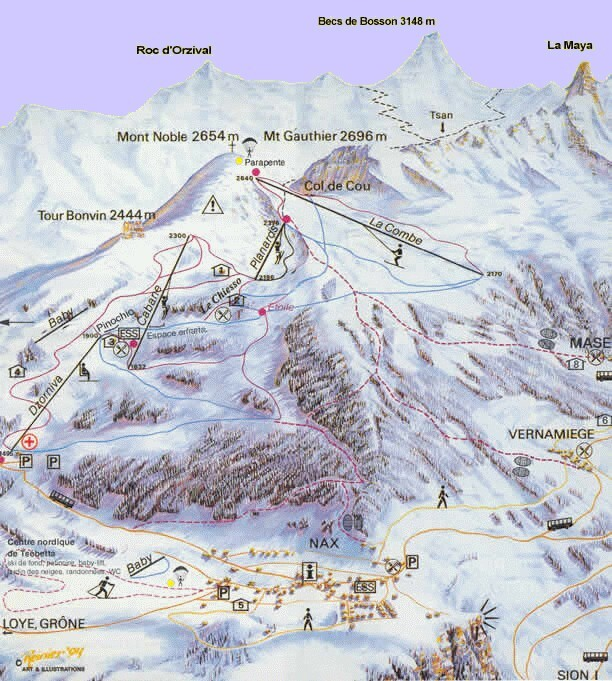 Nax - Mont-Noble Piste / Trail Map