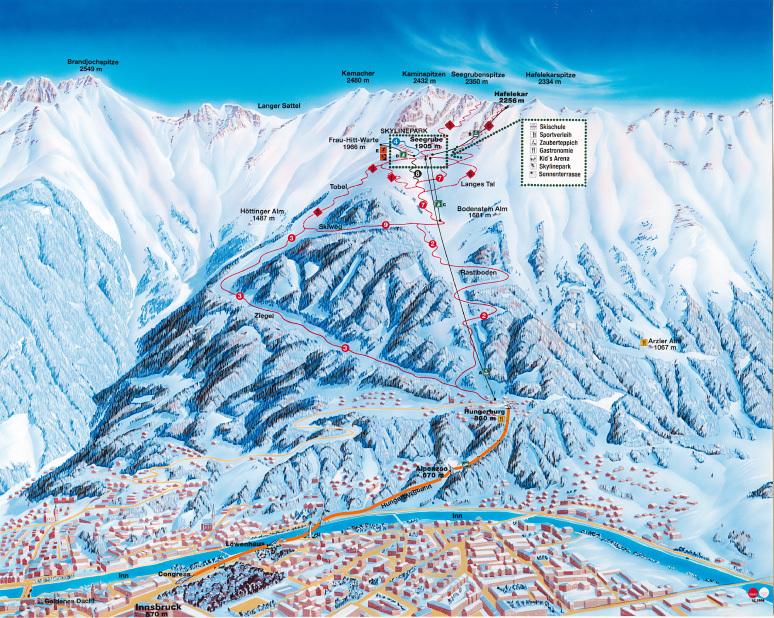 Nordkette Piste / Trail Map