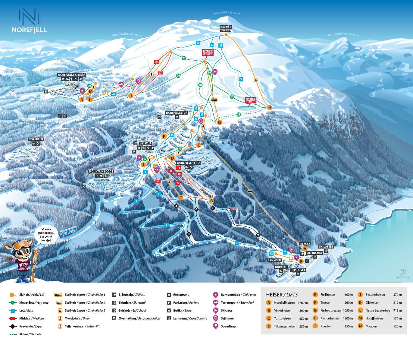 Norefjell Piste / Trail Map