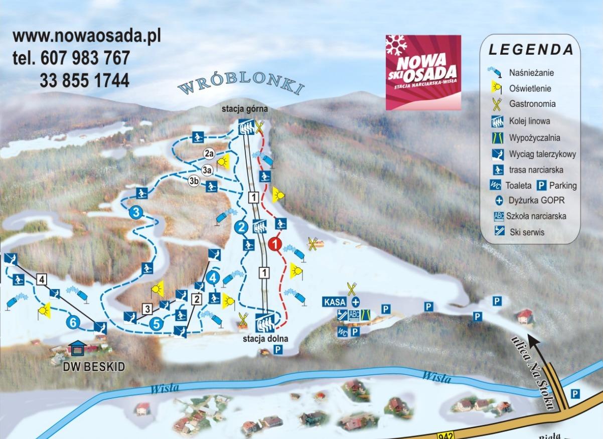 Nowa Osada – Wisła Piste / Trail Map