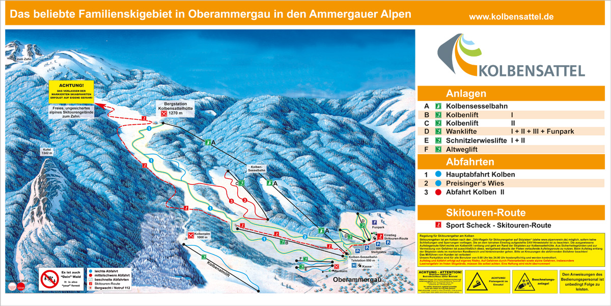 Oberammergau/Kolben Piste / Trail Map