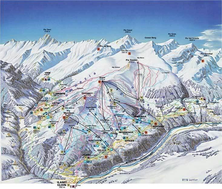 Obersaxen - Mundaun - Val Lumnezia Piste / Trail Map