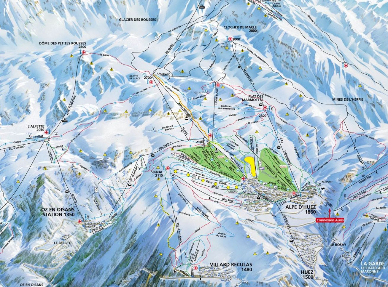 Oz en Oisans Piste / Trail Map