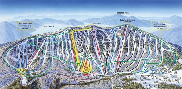 pajarito mountain ski area piste map / trail map