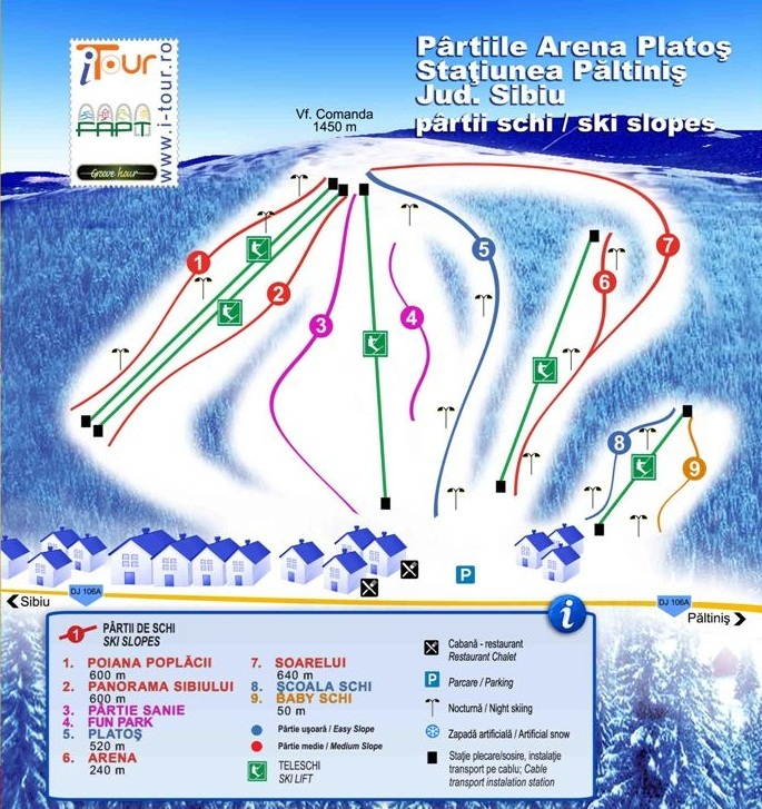 Păltiniş-Arena Platos Piste / Trail Map