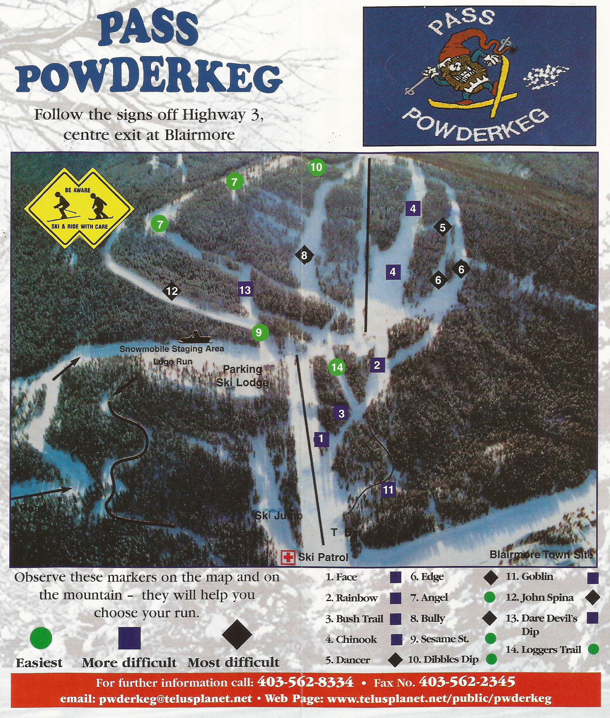 Pass Powderkeg Piste / Trail Map