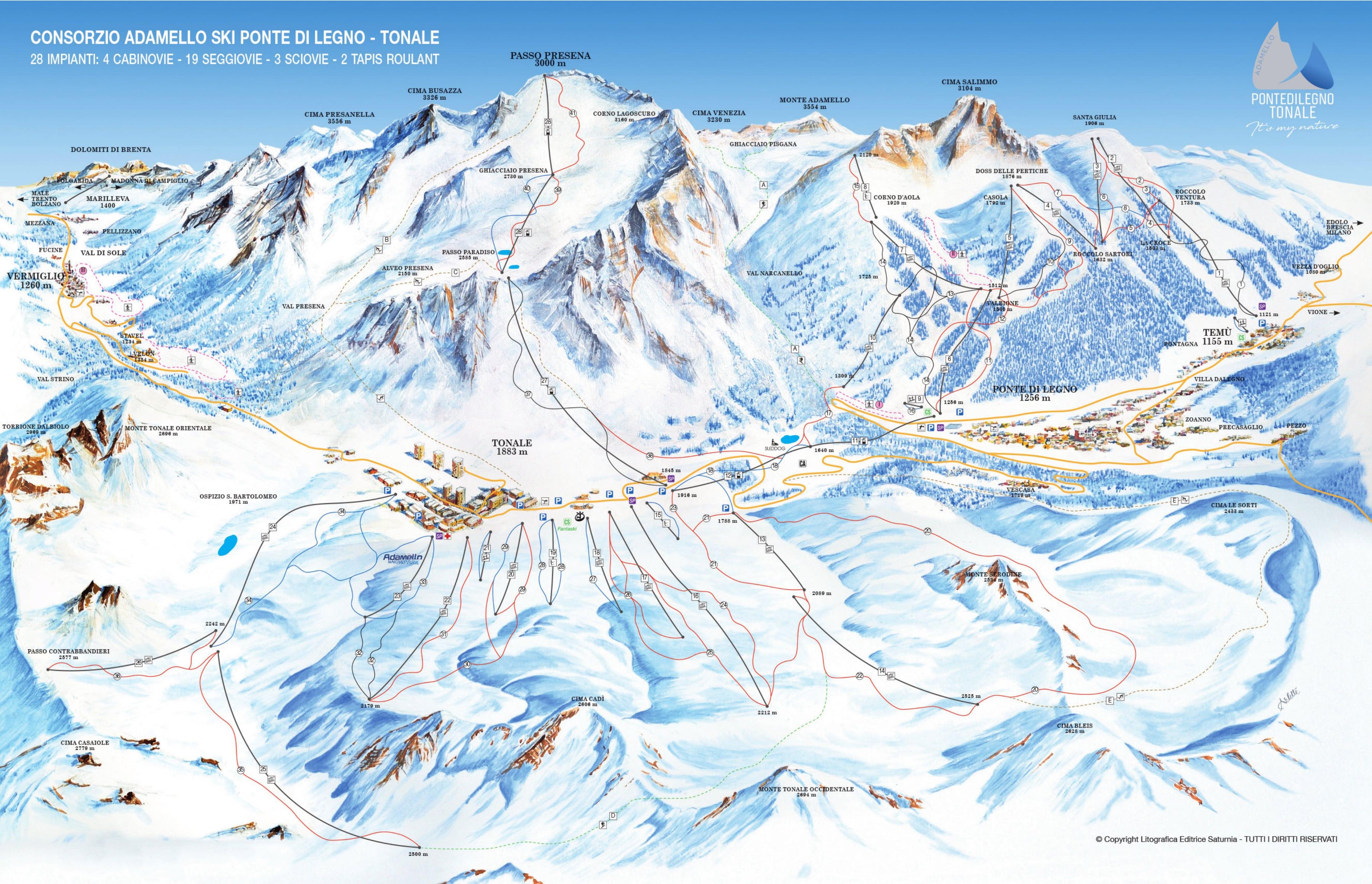Passo Tonale Piste / Trail Map