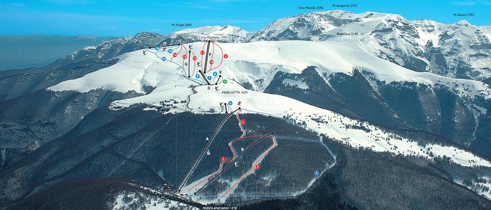 Passo Lanciano - Majelletta Piste / Trail Map