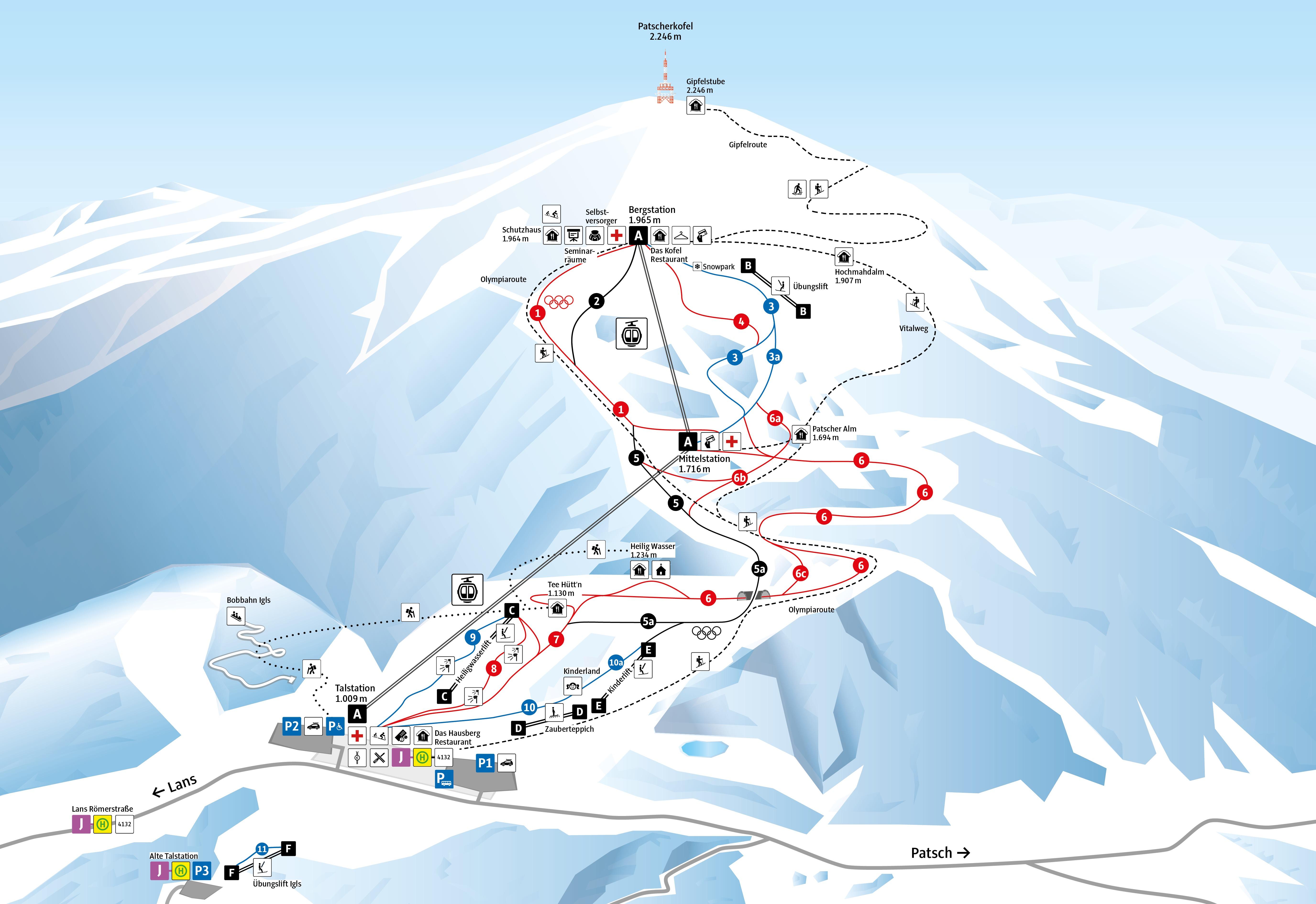 Patscherkofel Piste / Trail Map