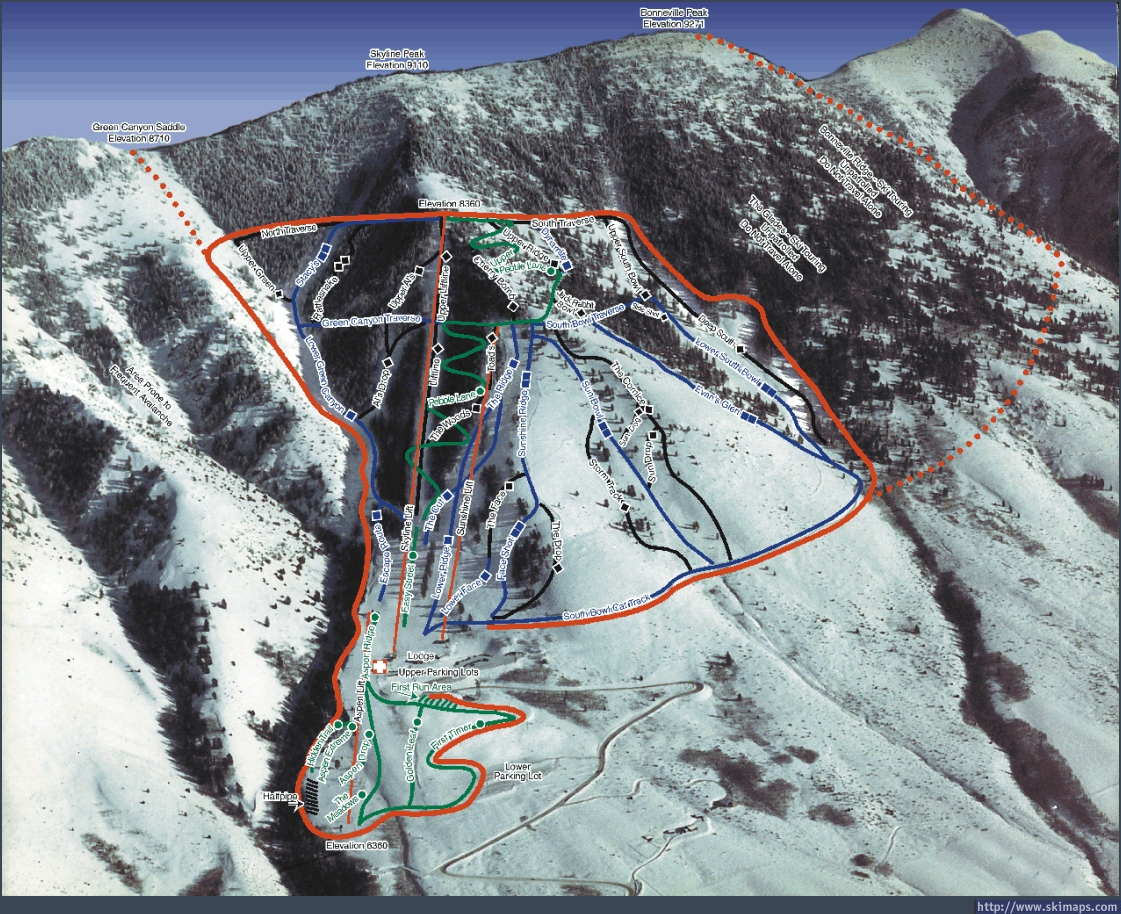 Pebble Creek Ski Area Piste / Trail Map