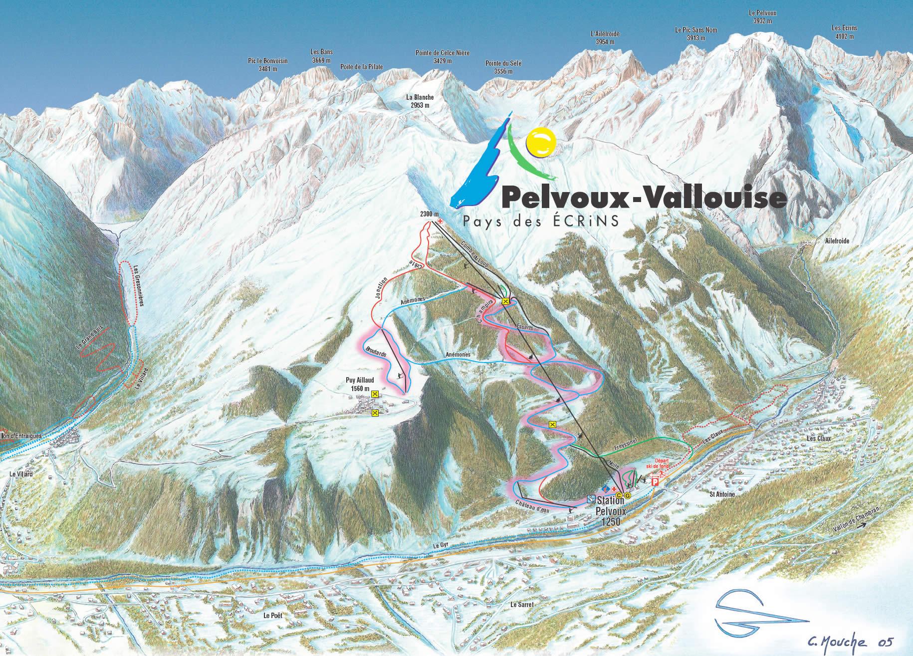 Pelvoux-La Vallouise Piste / Trail Map