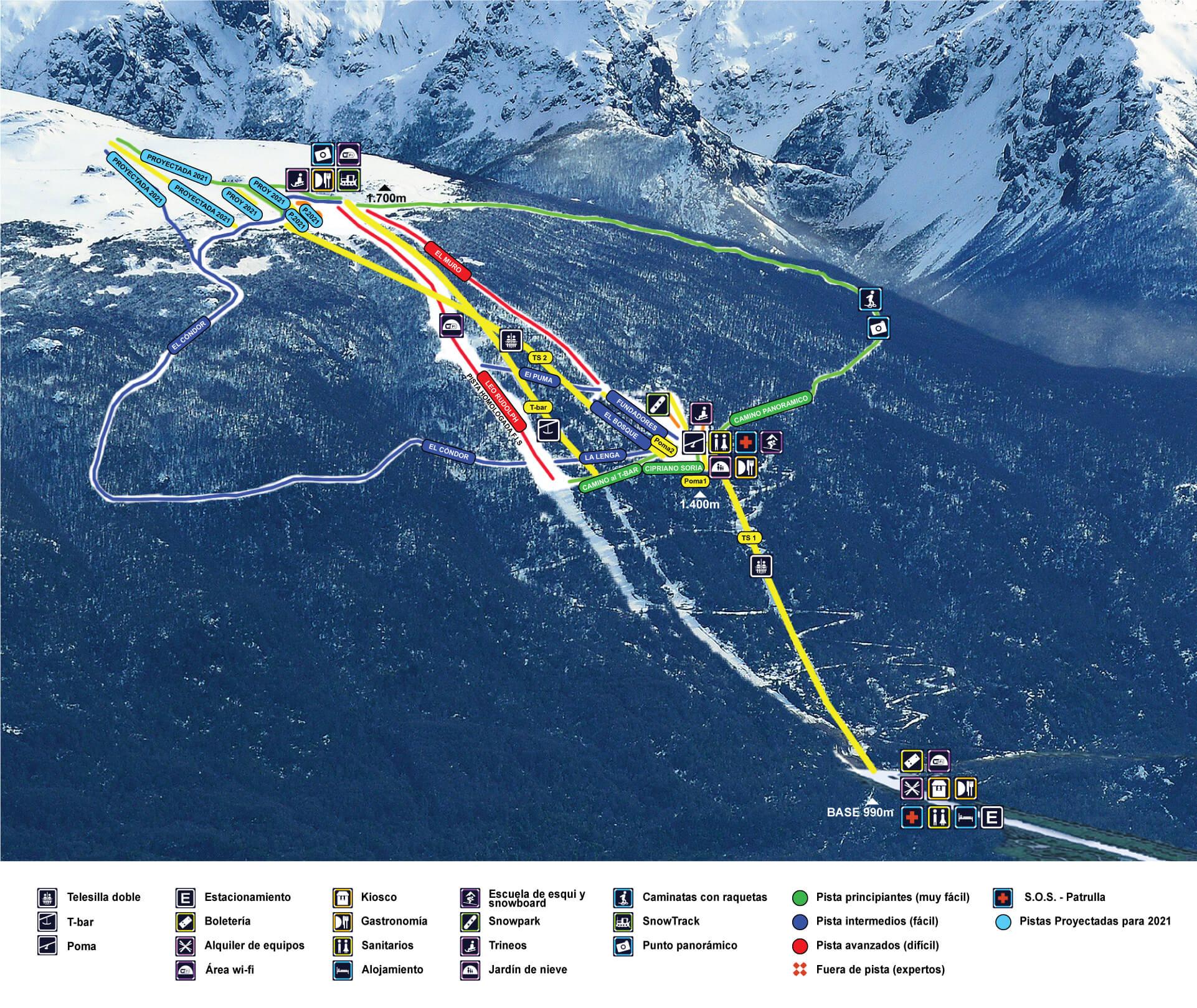 Perito Moreno Piste / Trail Map