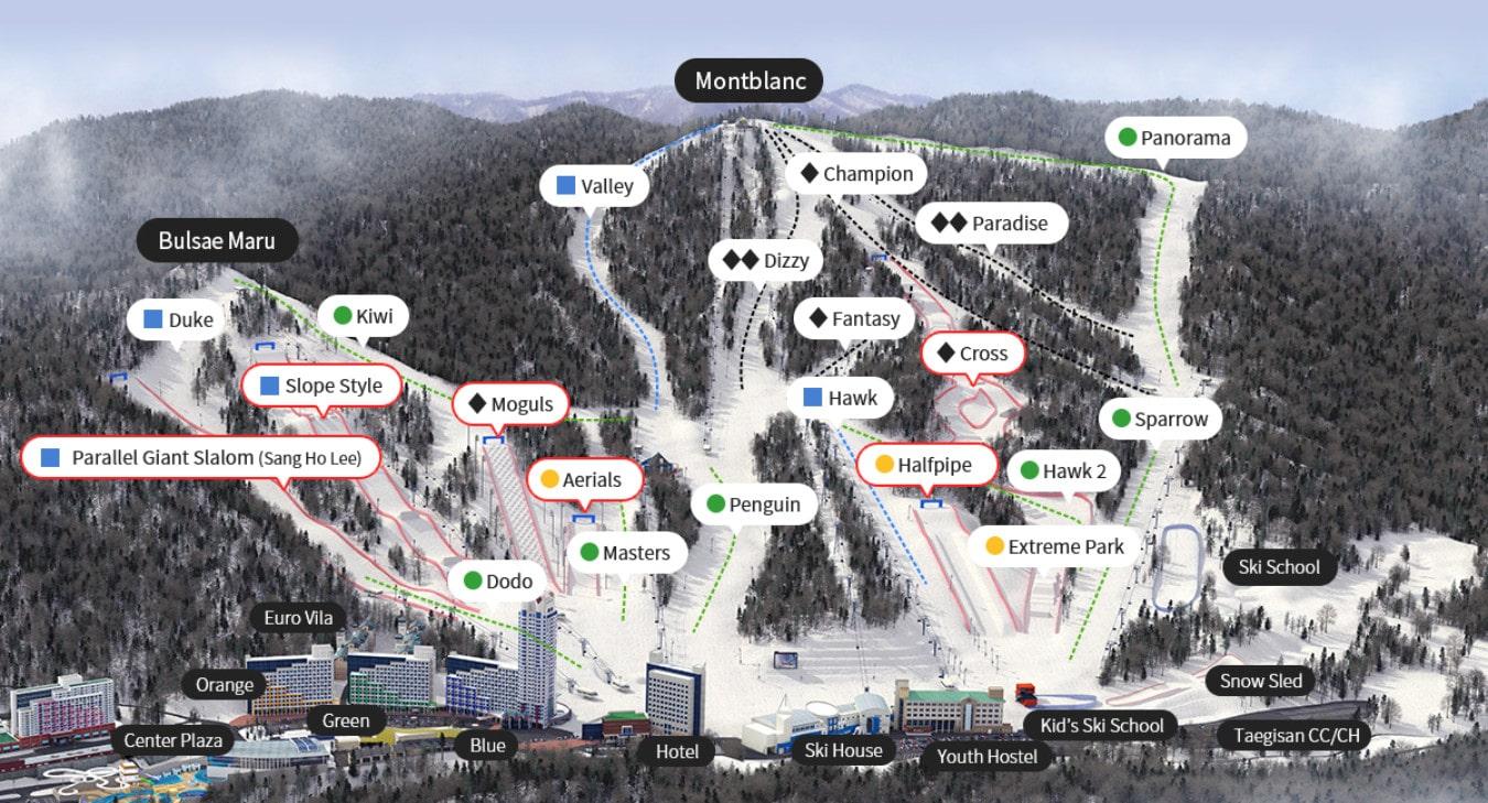 Phoenix Park Ski World Piste / Trail Map