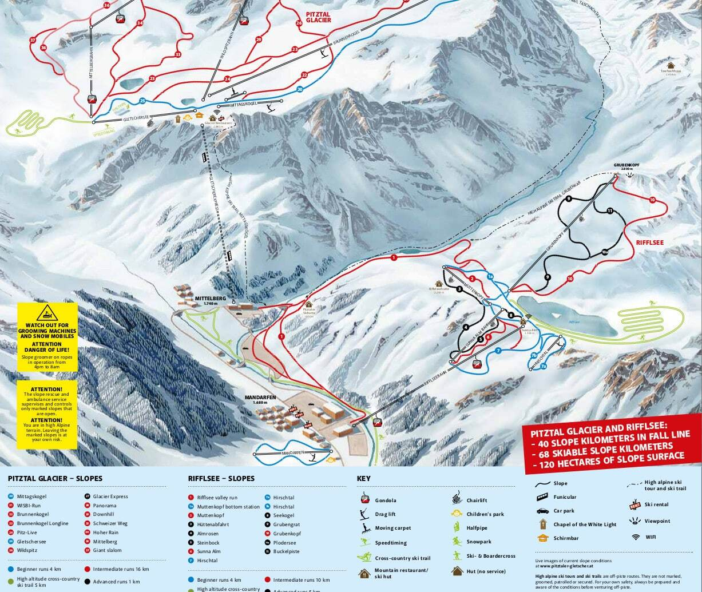 Pitztal Karte.Pitztal Glacier Ski Resort Guide Lagenkarte Pitztal Glacier Ski