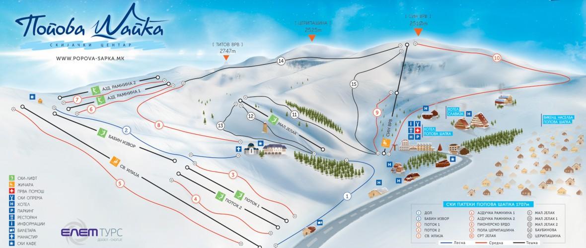 Popova Shapka Piste / Trail Map