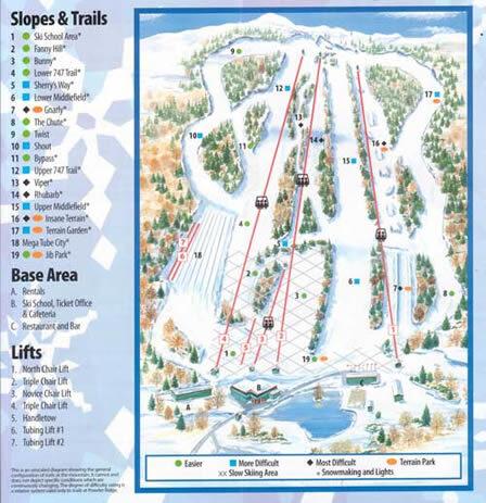 Powder Ridge Piste / Trail Map