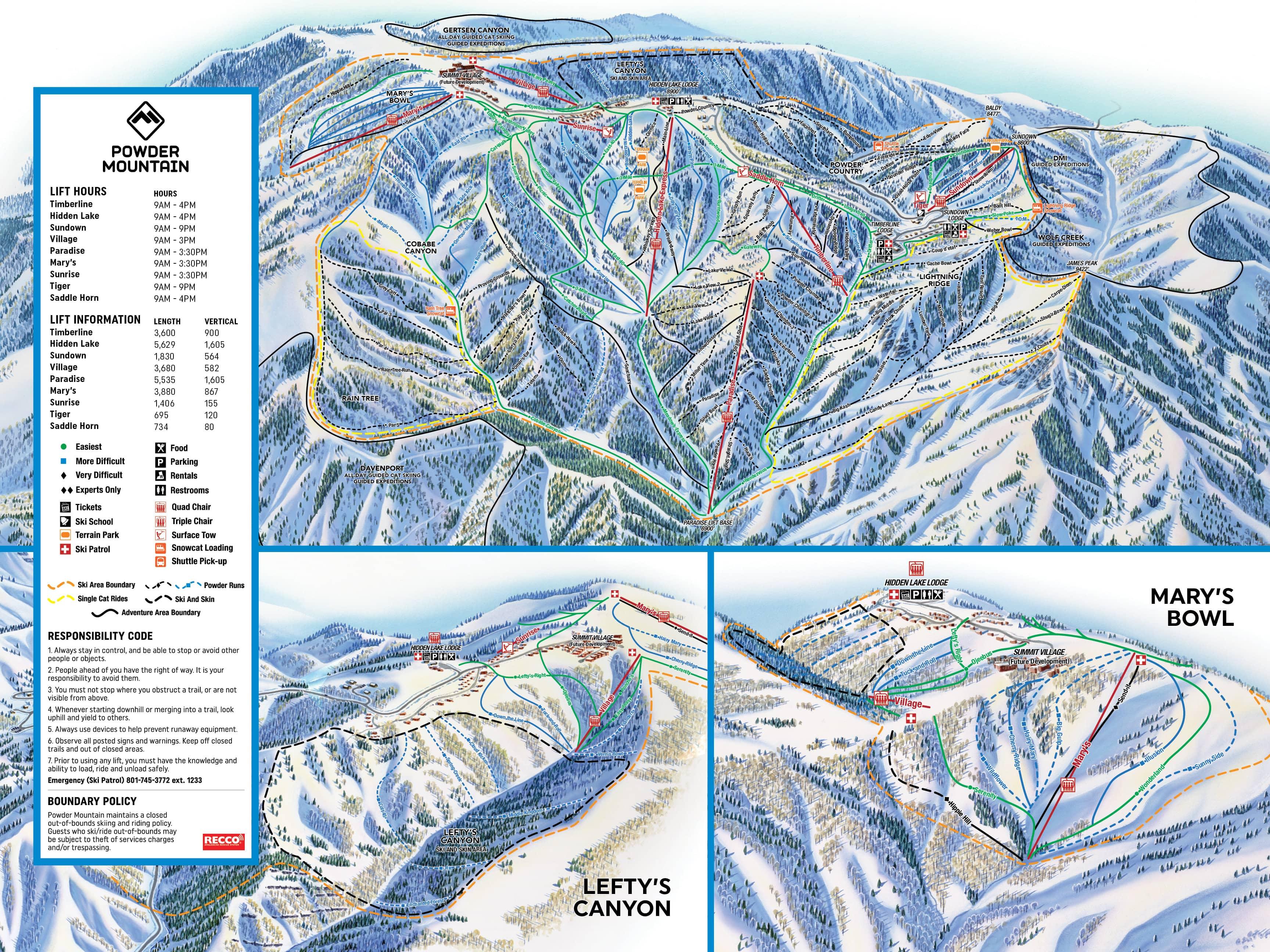 Powder Mountain Catskiing Piste / Trail Map